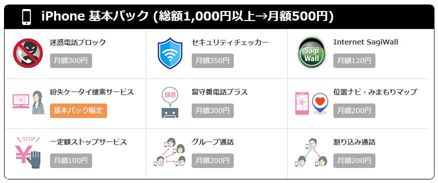 iPhone基本パック(総額1,000円以上→月額500円)